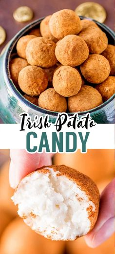This no-bake recipe for Irish potato candy is flavored with coconut, cream cheese, sugar, butter, and a dash of cinnamon. They're easy to make and perfect for celebrating St. Easy Potato Recipes, Mint Recipes, Candy Recipes, Sweet Recipes, Holiday Recipes, Dessert Recipes, Irish Desserts, Irish Recipes, Recipe For Irish Potatoes