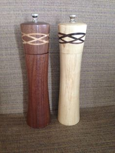 Salt and Pepper Mill on Etsy [the Irish knot is used well here. The pepper mill has finer lines than the salt. Shape is subtle]