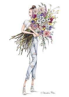 Fashion Illustrations Being well dressed is a beautiful form of confidence happiness & politeness Art And Illustration, Poster Photo, Happy Birthday Wishes Cards, Birthday Bouquet, Art Watercolor, Creation Photo, Buch Design, Cute Art, Flower Art