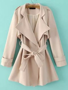Trench Coat: She is wearing a Beige Lapel Epaulet Tie-waist Trench Coat from Shein.