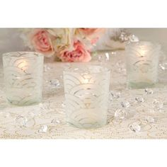 Votives for Wedding: Scallop Design Frosted Votive Candle Holders