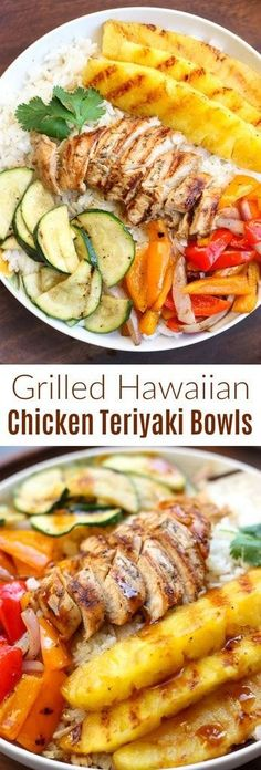 Grilled Hawaiian Chicken Teriyaki Bowls with coconut rice, zucchini squash, bell peppers, onions, and pineapple topped with a delicious and easy homemade teriyaki sauce