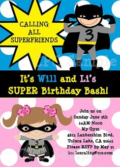 Batman Batgirl Superhero Birthday Party Invitations by  Cutie Patootie Creations