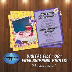 Superhero Girl Invitation #3 -- Custom Invitations -- Digital File OR Free Shipping Physical Prints by SmoochalDesigns on Etsy
