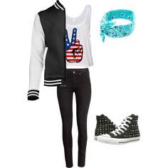 4th of July party by alannaxjonnesx on Polyvore featuring polyvore, fashion, style, H&M and Converse