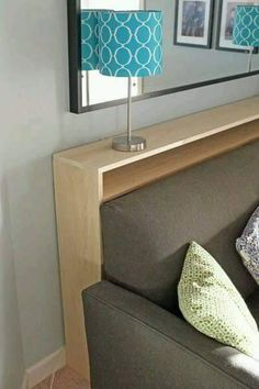 DIY Sofa Table - narrow table with electrical outlets behind couch instead of a . - DIY Sofa Table – narrow table with electrical outlets behind couch instead of a coffee table in f - Small Living Rooms, Home Living Room, Living Room Decor, Tv Room Small, Diy Living Room Furniture, Apartment Furniture, Diy Sofa Table, Sofa Tables, Coffee Tables