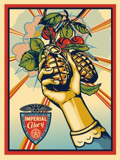 Available for sale from Pace Prints, Shepard Fairey, Imperial Glory Silkscreen in six colors, 56 × 42 in Roy Lichtenstein, Graffiti, Banksy, Art Obey, Shepard Fairey Art, Shepard Fairy, Tachisme, Art En Ligne, Best Street Art