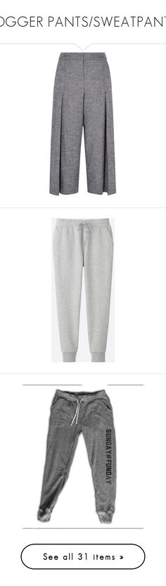"""""""JOGGER PANTS/SWEATPANTS"""" by bareilleoo ❤ liked on Polyvore featuring pants, capris, bottoms, jeans, jeans/pants, gray pants, slim pants, grey pants, slim cropped pants and wide leg trousers"""