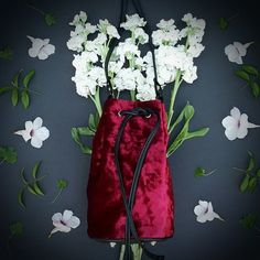 Thora - Ethically made crushed velvet & vegan leather mini bucket bag - www.velvetheartbeat.com Vegan Handbags, How To Make Handbags, Crushed Velvet, Ethical Fashion, In A Heartbeat, Vegan Leather, Bucket Bag, Fashion Accessories, Colours