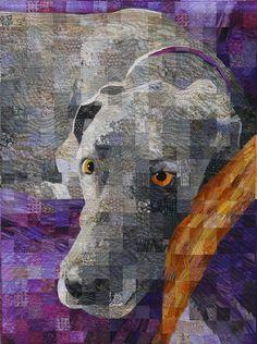 Winston, a Great Dane, matrix quilt by Sandra Bruce | Artistic Alchemy blog