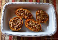 Twice Baked Sweet Potatoes Brown Sugar & Pecan Topping