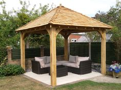 Oak gazebo 3mx3m including cedar shingles DIY kit | eBay