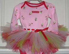 """""""my first Christmas"""" onesie and handmade tutu. Great for baby's 1st xmas. Currently available in sizes 3/6 and 6/9 months. Only $29.99 on Etsy.com at CassieCottage."""