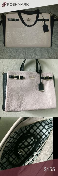 """Kate Spade Lanie Pebbled Leather Satchel Blush Authentic blush grayish pink pebbled leather satchel with adjustable shoulder strap. Perfect size for work. I wore it for months and absolutely adored it to pieces. Mom just got me a new bag for Christmas so it's time to say goodbye to this one. Wear as shown, only rubbed staining, should come out with leather cleaner. Measurements height: 9"""", length: 11"""", width: 5.5"""". 4"""" drop handle 20"""" crossbody/shoulder strap adjustable. kate spade Bags"""