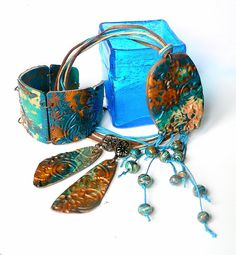 """Ethnic Jewelry set """"Water Splash"""",ethnic necklace,earrings and ethnic bracelet jewellery set , handmade from polymer clay"""