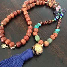 Rosewood and Tibetan Clay beads necklace with Amethyst, Cats eye, Jade, Turquoise & lucky eye beads and handmade 100% cotton tassel from Lakshmi Custom Jewelry for $70.00 on Square Market
