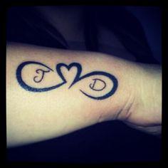 infinite love tattoo (parent's letters)