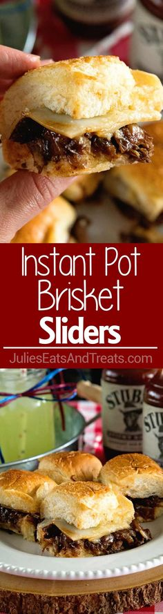 Instant Pot Brisket Sliders with Caramelized Onions ~ Tender, Shredded Brisket Cooked in Your Instant Pot. Stuffed into Sliders Then Topped with Caramelized Onions and Cheese! Perfect Finger Food for Parties! via @julieseats