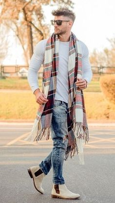 Jeans, shirt and long scarf - mens outdoor clothing, mens clothing buy online, tall mens clothing Men Clothing Source : Men's fashion. Jeans, shirt and long scarf - mens outdoor Men Street Outfit, Street Fashion, Fashion Men, Fashion Clothes, Fashion Shirts, Fashion Styles, Mens Scarf Fashion, Fashion Ideas, Fashion Outfits