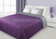 Narzuty dwustronne w kolorze fioletowo srebnym do sypialni