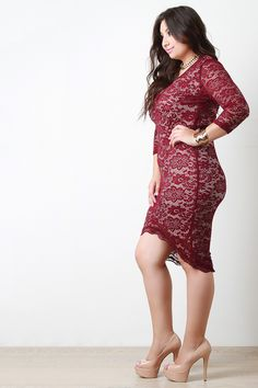 V Neck Lace Half Sleeve Bodycon Dress Beautiful Models, Gorgeous Women, Plus Size Mini Dresses, Bodycon Dress With Sleeves, Stretch Lace, Hottest Models, Pin Up Girls, Half Sleeves, Plus Size Women