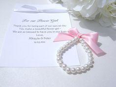 LITTLE GIRL Pearl Bracelet Flower Girl Gift by BabysFirstKeepsake, $8.99