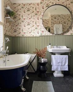 Tongue and groove painted in Treron by farrow and ball. Cole and son Hummingbirds wallpaper. Round mirror in bathroom. Bad Inspiration, Bathroom Inspiration, Bathroom Ideas, White Bathroom, Modern Bathroom, Master Bathroom, Bathroom Marble, Bathroom Vintage, Glass Bathroom