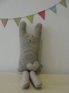 BUNNY rabbit. heart softie. super natural and neutral perfect for a boy or a girl.. $35.00, via Etsy.