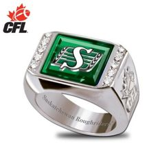 CFL Saskatchewan Roughriders Engraved Mens Ring I would even wear! Men's Jewelry, Jewlery, Go Rider, Saskatchewan Roughriders, Canadian Football League, Saskatchewan Canada, Rough Riders, Green Colors, Pride