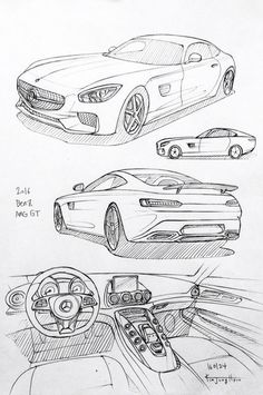 Prisma on paper.H to drawing a car Cool Car Drawings, Dark Drawings, Drawing Sketches, Drawing Drawing, Drawing Tips, Car Design Sketch, Car Sketch, Auto Illustration, Industrial Design Sketch