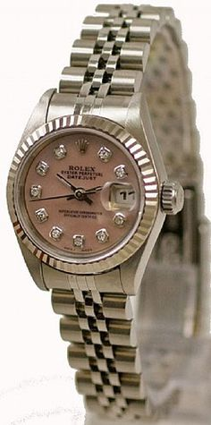 Rolex Ladies Datejust Steel Pink MOP Diamond Dial & Jubilee Band