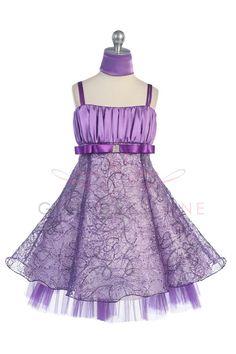 I Love It! Purple Shiny Embroidered Flower Girl Dress on www.GirlsDressLine.Com