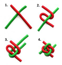 Friendship knot with ropes or sweet twists. Good for visual perception, fine motor skills and planning.