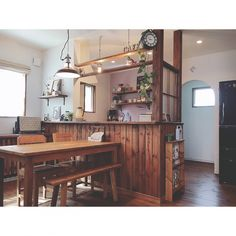 Brick And Wood, Concrete Wood, Diy Interior, Room Interior, Kitchen Reno, Diy And Crafts, Table, House, Furniture