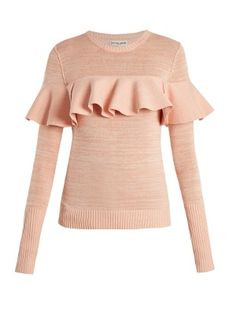 Apiece Apart Ruffled Cotton-blend Sweater In Light Pink Flutter Sleeve Top, Ruffle Sleeve, Cropped Trousers, Red Sweaters, Pink Sweater, Pink Tops, Cotton, How To Wear, Outfits