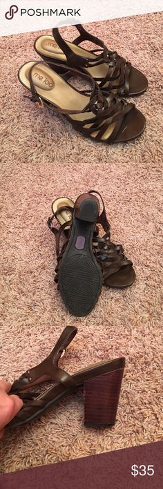 """ME TOO Leather Brown Dress Sandals Very comfortable brown, strap sandal! 4"""" heel. Size 9 1/2 me too Shoes Sandals"""