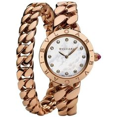 Bvlgari BVLGARI White Mother-of-Pearl Dial 18k Pink Gold Gourmette... ($29,995) ❤ liked on Polyvore featuring jewelry, watches, white dial watches, white crown, white watches, rose gold jewelry and analog watches