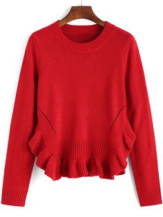 Shop Red Round Neck Ruffle Crop Knitwear online. SheIn offers Red Round Neck Ruffle Crop Knitwear & more to fit your fashionable needs.