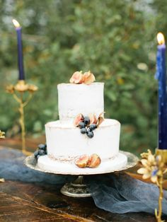Rustic autumn fig topped wedding cake: http://www.stylemepretty.com/little-black-book-blog/2015/11/25/autumn-orchard-wedding-inspiration/ | Photography: Callie Hobbs - http://calliehobbsphotography.com/