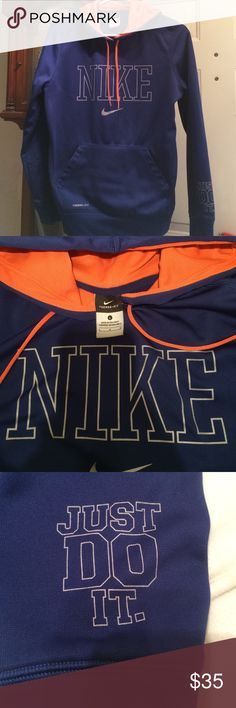 Nike sweatshirt Nike therma-fit new without tags.  Royal blue & orange. Nike Shirts & Tops Sweatshirts & Hoodies