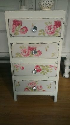 Off White Vintage Chest Of Drawers With Roses Decoupage & Crystal Knobs