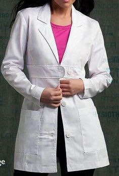 8617 Lab Coat - Peaches Uniforms from Scrub Couture Poly Cotton Twill belted waist detail lab Princess seams and bust darts Back waist inset with button tab and shirring Patch pockets 4 - 20 Dental Uniforms, Maternity Scrubs, Scrubs Uniform, Spa Uniform, Stylish Scrubs, Doctor Coat, Scrub Jackets, Lab Coats, Medical Scrubs