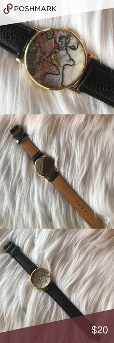 Urban Outfitters World Map Watch World Map Watch. This is a NWOT beautiful black leather strap watch. Never worn. No trades. Price firm. Urban Outfitters Accessories Watches