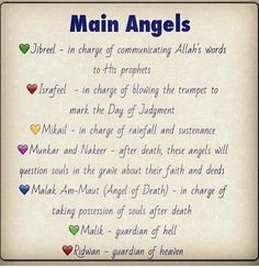 Main angels in islam and their duties Islam Hadith, Allah Islam, Islam Muslim, Islam Quran, Alhamdulillah, Quran Verses, Quran Quotes, Qoutes, Muslim Quotes
