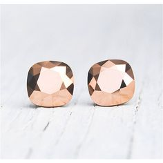 Rose Gold Metallic Earrings Swarovski Crystal Rose by MASHUGANA ($33) via Polyvore