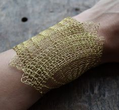 The Brass Wire Crocheted OOAK Lacy Bracelet. Made to order.