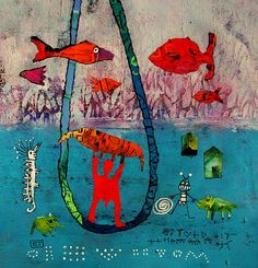 Elke Trittel acrylic,collage on paper 25x25cm