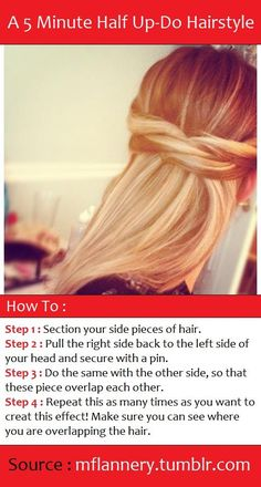 This would be pretty with Waves!! Ans Easy.. only bobby pins- then hair curler and spray needed (for curles?). A 5 Minute Half Up-Do Hairstyle