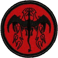 "Retro Red and Black Flame Breathing Dragon Patrol Patch - 2"" Round"