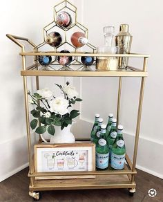 """Check out our web site for more information on """"gold bar cart decor"""". It is actually an outstanding area to learn more. Home Bar Decor, Bar Cart Decor, Bar Cart Styling, Ikea Bar Cart, Diy Bar Cart, Mini Bar At Home, Bars For Home, Canto Bar, Gold Bar Cart"""